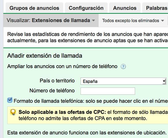 Extension llamada Adwords - Formato Telefonico Blog Adwords SEM