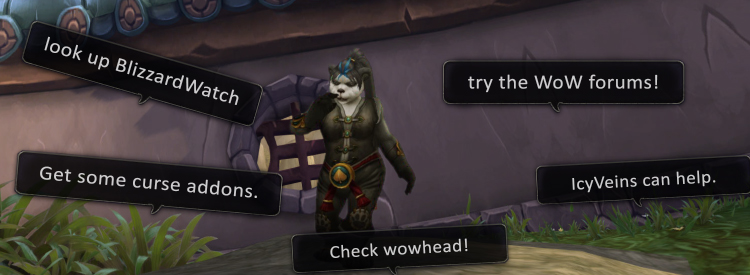 Scene of a new player being offered various websites that serve to benefit WoW.
