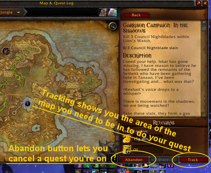Image shows quest ui and how to track and abandon quests