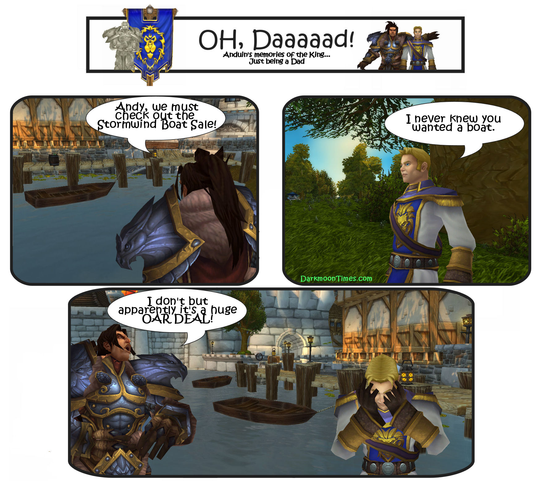 "Image shows a comic illustrating the Dad joke ""We need to go to the Stormwind boat sale. I hear it is a really big OAR DEAL"""