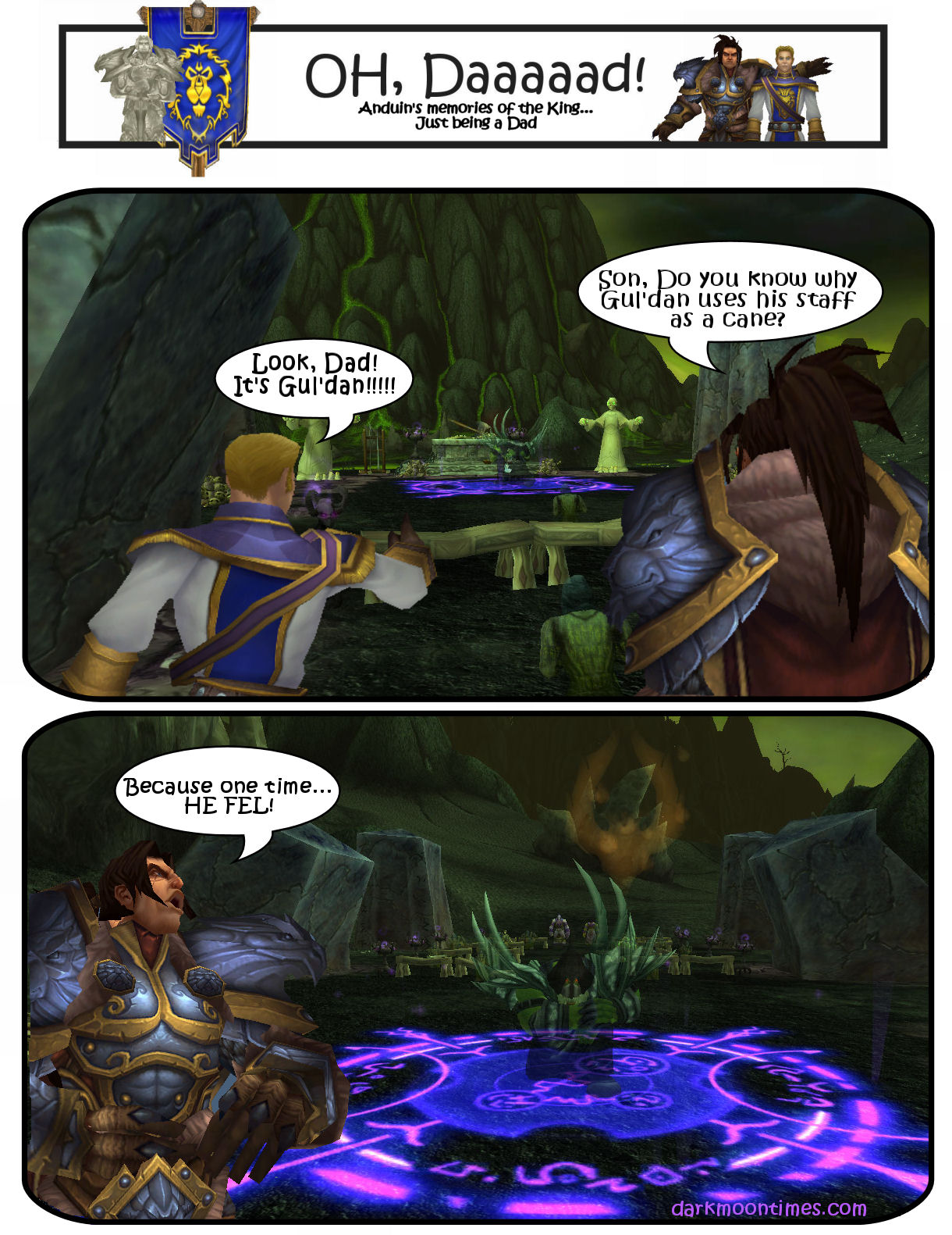"Image shows Variann telling Anduin a dad joke ""why does gul'dan use his staff as a cane? he fel"""