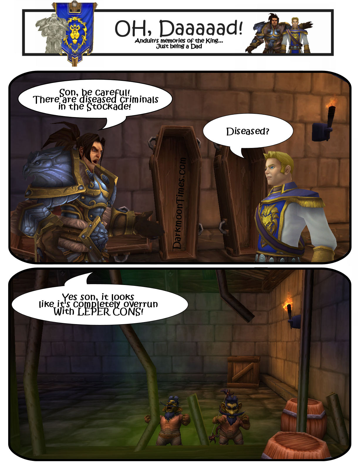 """Varian telling Anduin the Dad Joke """"Becareful the Stockade has been hit by a disease. It's full of Leper Cons"""" and shows 2 Leper Gnomes behind bars."""