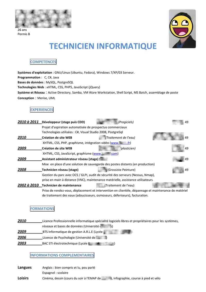 cv pour seconde stage