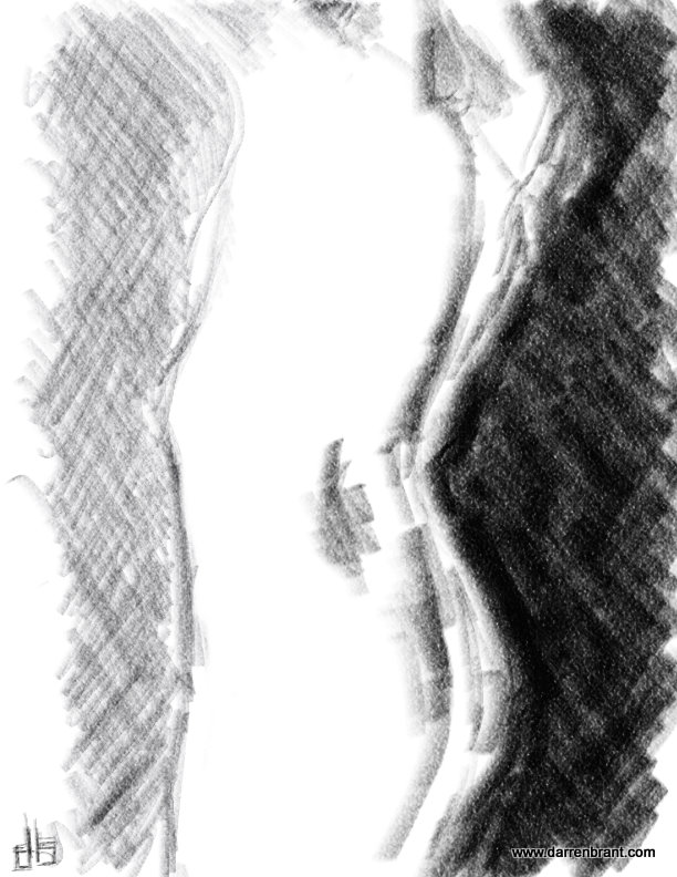 nude female figure sketch torso 20min