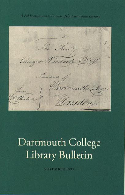 Dartmouth College Library Bulletin November 1997