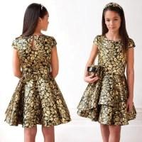 DAVID CHARLES Girls Black & Gold Jacquard Party Dress ...