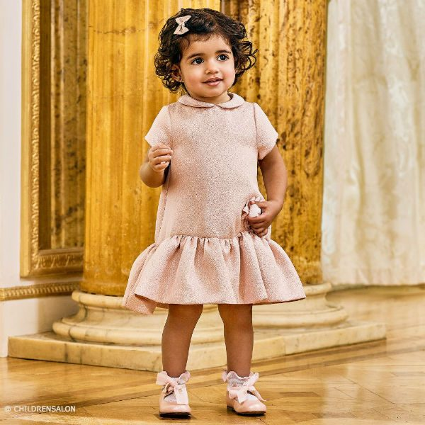 FENDI Baby Girls Pink Glitter Dress  Pink Leather Shoes Dashin