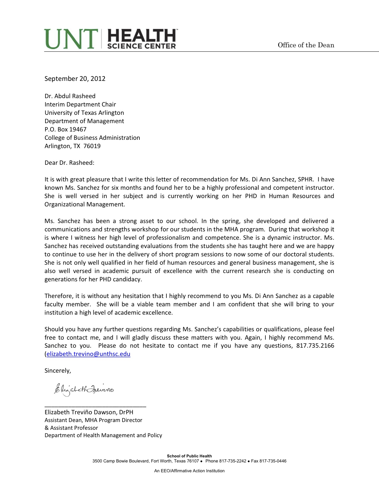 outstanding letter of recommendation