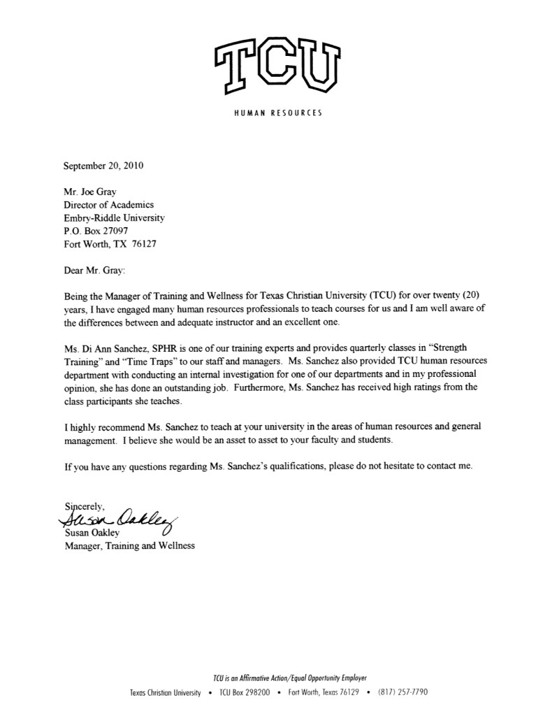 Recommendation Letter Sample Hr Professional   Professional ...