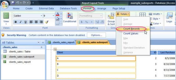 Counting in a Microsoft Access 2007 Report Database Solutions for