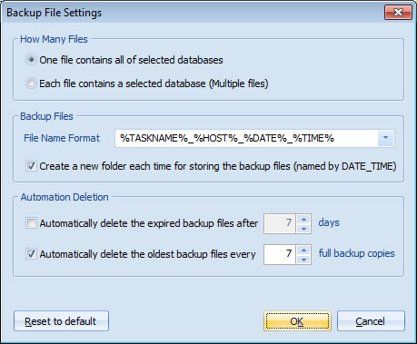 Backup File Settings - Automatic Backup Scheduler for MySQL