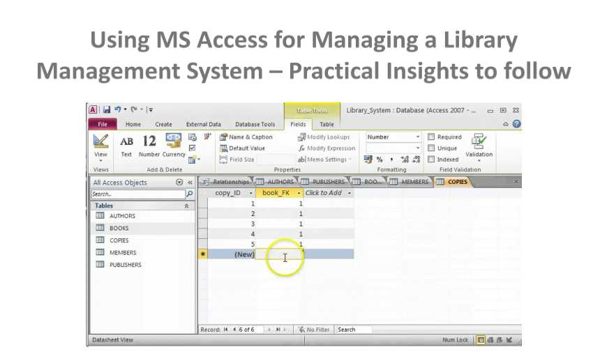 How to Make a Library Management System with MS Access - Data