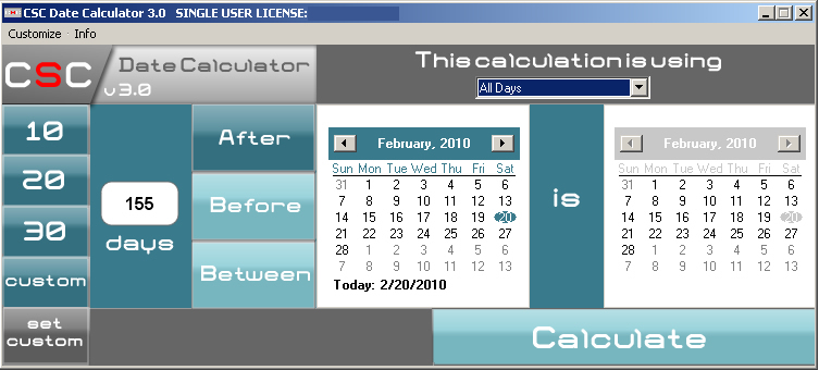 Date Calculator by CSC - The Date Calculator to Count days between