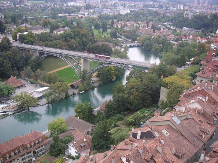 Aar River and Kirchenfeldbrucke Bern Switzerland