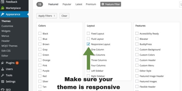 setting up WordPress general settings - Responsive Layout