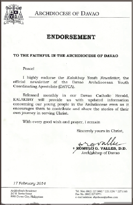 Endorsement Letter - Davao Catholic Herald