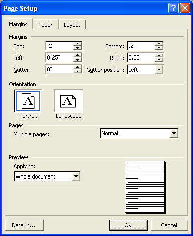 Making grid (graph) paper in Word