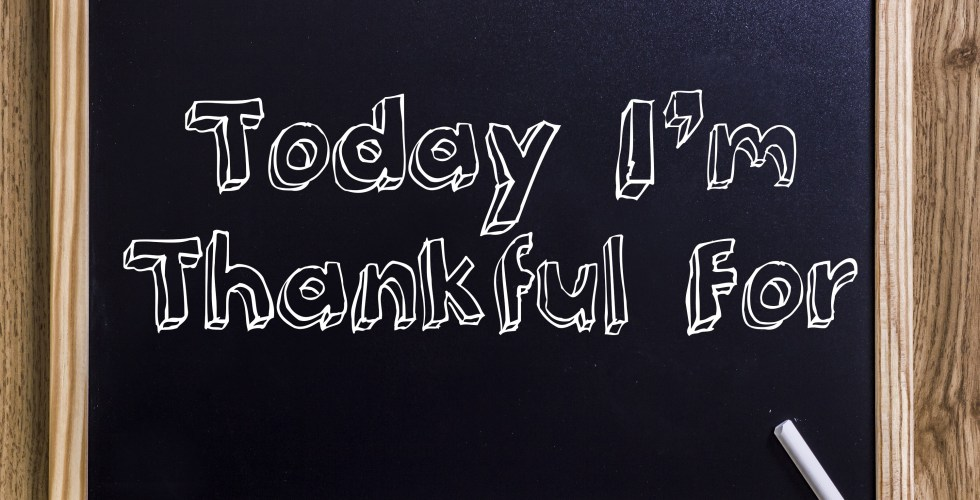 Today I'm Thankful For - New chalkboard with 3D outlined text - on wood