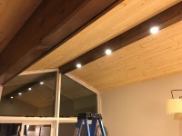 Pine Faux Beam with Recessed Lighting