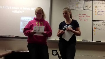 Here, students rock out some debate over whether Odyssey was a hero or a villain.