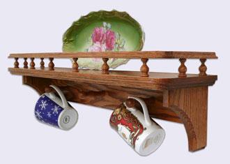 Wall Mounted Oak Wood Shelves Country Style