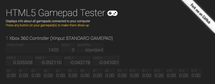 HTML5 gamepad tester