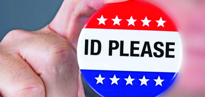 """A badges displaying the phrase """"ID PLEASE"""""""