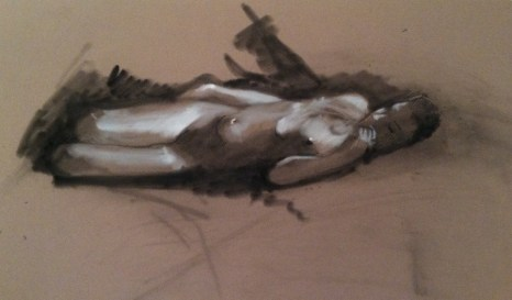 Figure drawing, charcoal and white pastel on colored paper, $95