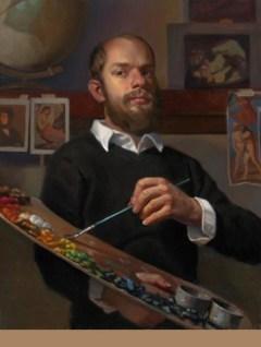 "Stephen Cefalo, Self Portrait with Palette, 36""x30"""