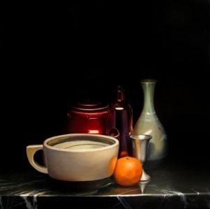 Mandarin in the Middle, Oil on Panel, 24″x24″ $2950, Framed
