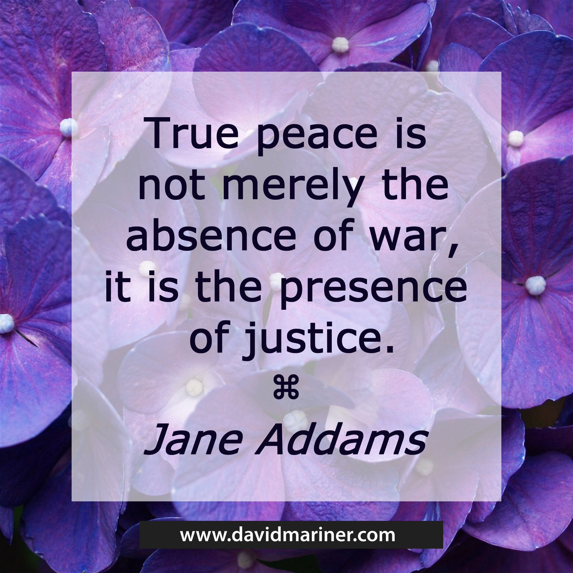 True peace is not merely the absence of war, it is the presence of justice. - Jane Addams