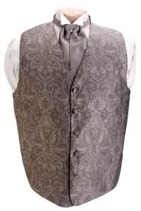 New Brandon Michael Silver Retro Paisley Vest and Tie   eBay