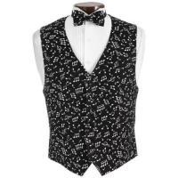 Brand New Black & White Musical Tuxedo Vest and Bowtie