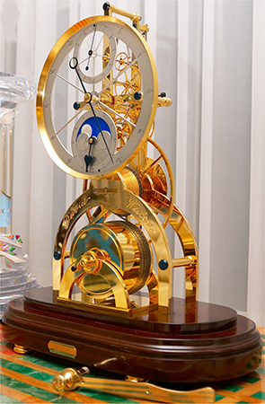 Great wheel skeleton clock david walter timepieces