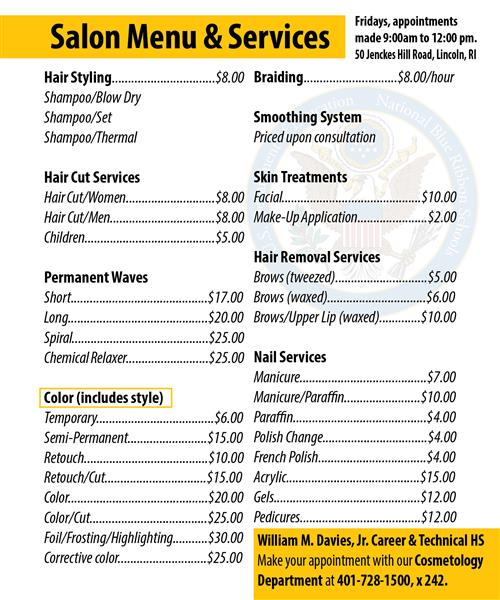 Career  Tech Programs / Cosmetology - hair salon sign in sheet