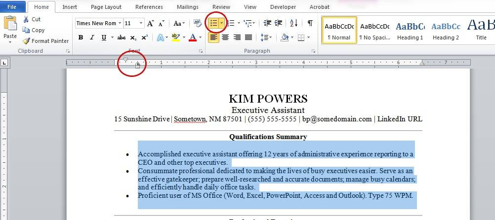 Resume Formatting Tips using Microsoft Word