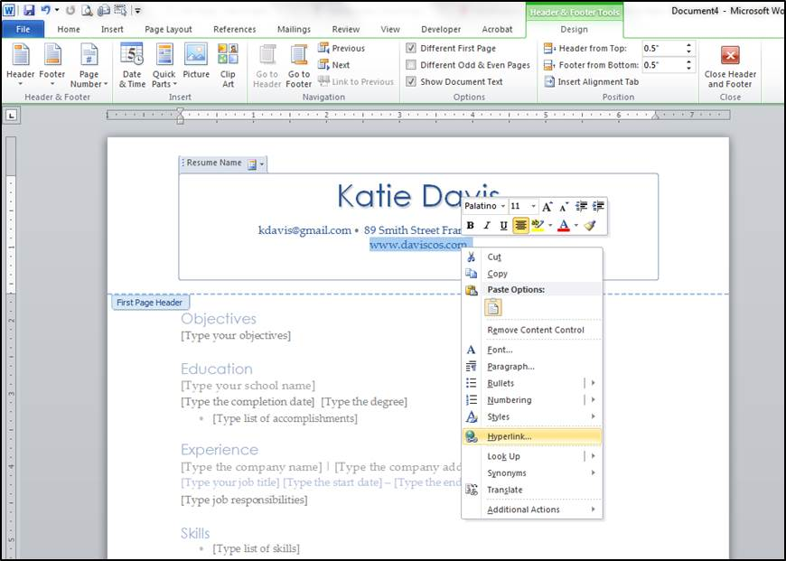 4 Easy Word Tips to Create a Killer Resume - DAVIS Cos - how to create resume in word