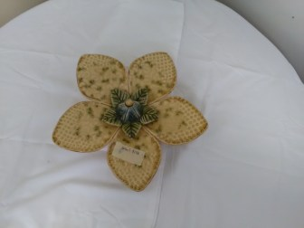 Porcelain flower wall hanging by Adam and Sarah Spector