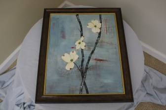 $35 VALUE - Framed painting of flowers on branches donated by The Art Spot in Ann Arbor (3 available)