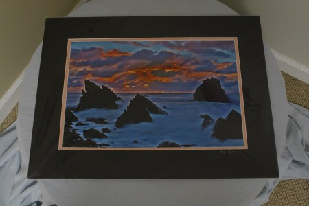 $85 VALUE - Photograph of rocks in the water at sunset by artist Stan Goldberg