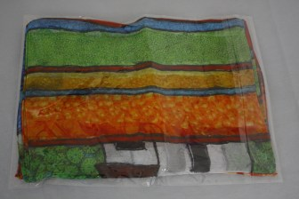 $30 VALUE - Recycled, hand-dyed chiffon scarf with mosaic print