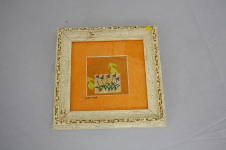 $125 VALUE - Framed garden flowers painting by artist Mira Raman