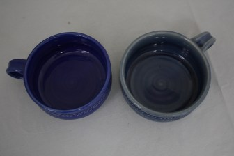 $29 VALUE - Large blue ceramic soup bowl with handle by artists Greg Johnson & Donna Gilbert (2 available)