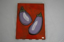 $50 VALUE - eggplant wallhanging by artists Toni & Jay Mann