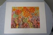 $45 VALUE - Pink and orange flowers print by artist Lisa Loudermilk