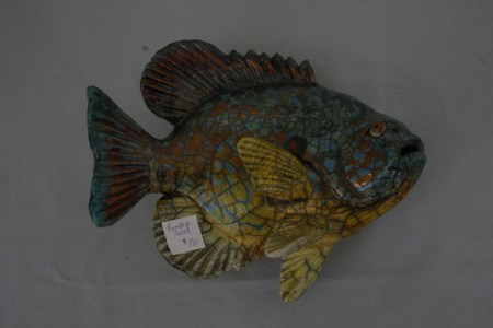 "$40 VALUE - ""Pumpkin Seed"" ceramic fish figurine by artists Rosemary & Alan Bennett"