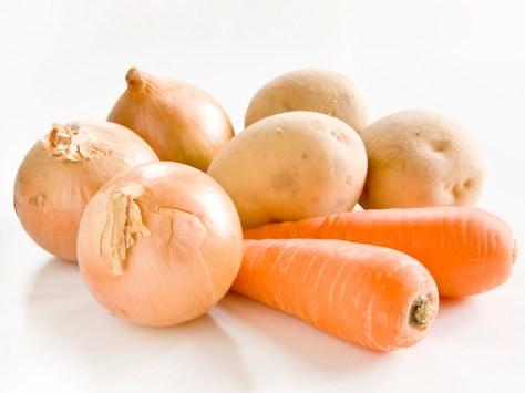 "$13 VALUE - Local fall ""stew base"" veggies: 5lb russet potatoes, 3lb carrots, 2lb onions by Kirk Jones"