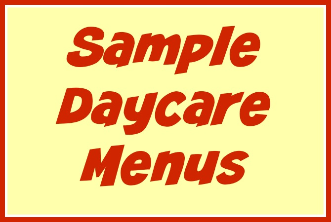 Free Daycare Forms and Sample Documents - daycare meal plan