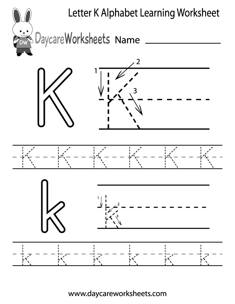 K sound handwriting alphabet worksheets  Softschoolscom