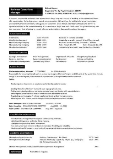 operations business manager resume samples